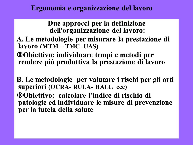 3 Due approcci per la definizione dell'organizzazione del lavoro: A. Le metodologie per misurare la prestazione di lavoro (MTM – TMC- UAS) Obiettivo: