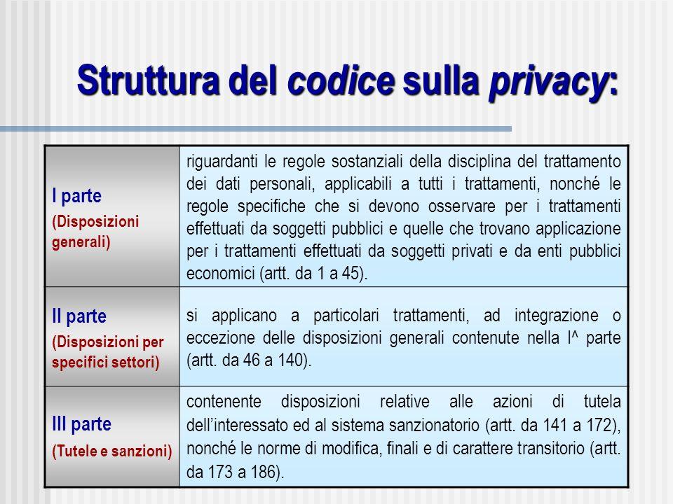Struttura del codice sulla privacy : I parte (Disposizioni generali) riguardanti le regole sostanziali della disciplina del trattamento dei dati perso