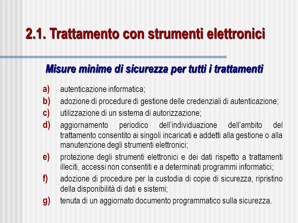 a) autenticazione informatica; b) adozione di procedure di gestione delle credenziali di autenticazione; c) utilizzazione di un sistema di autorizzazi