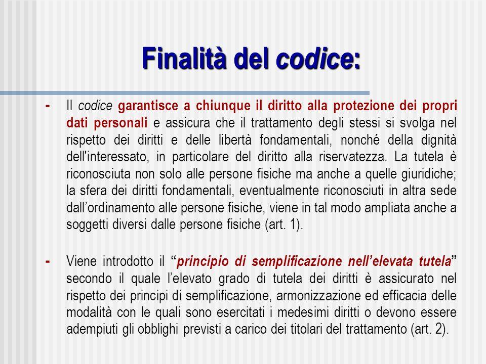 Finalità del codice : - Il codice garantisce a chiunque il diritto alla protezione dei propri dati personali e assicura che il trattamento degli stess