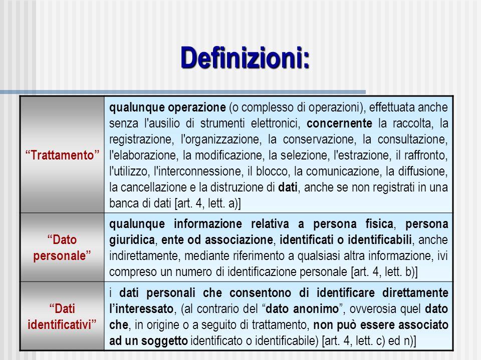 Definizioni: Trattamento qualunque operazione (o complesso di operazioni), effettuata anche senza l'ausilio di strumenti elettronici, concernente la r