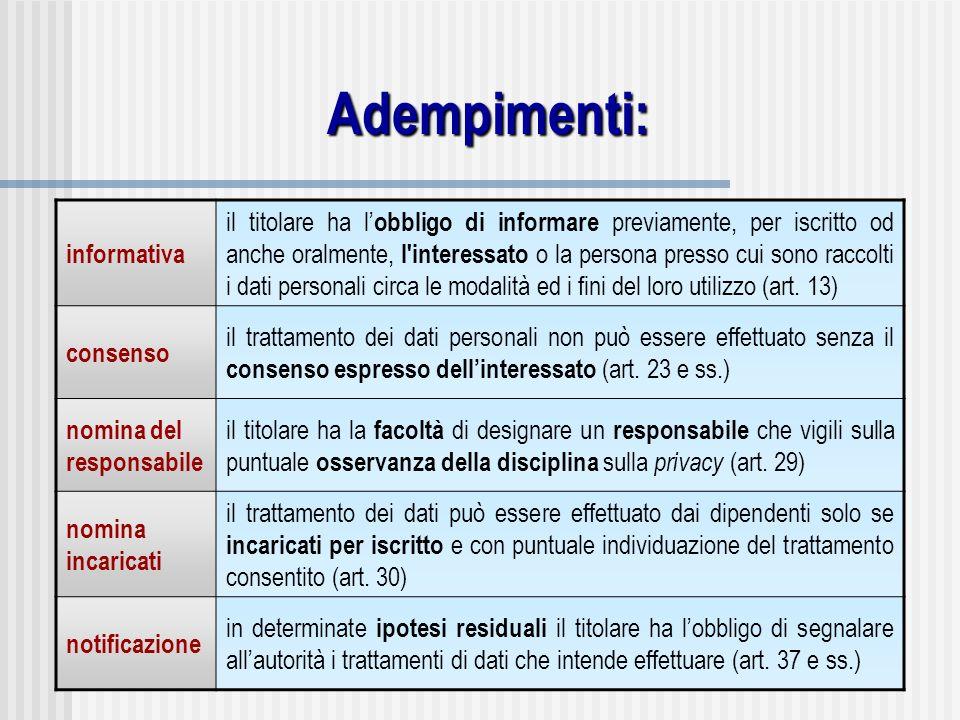 Adempimenti: informativa il titolare ha l obbligo di informare previamente, per iscritto od anche oralmente, l'interessato o la persona presso cui son