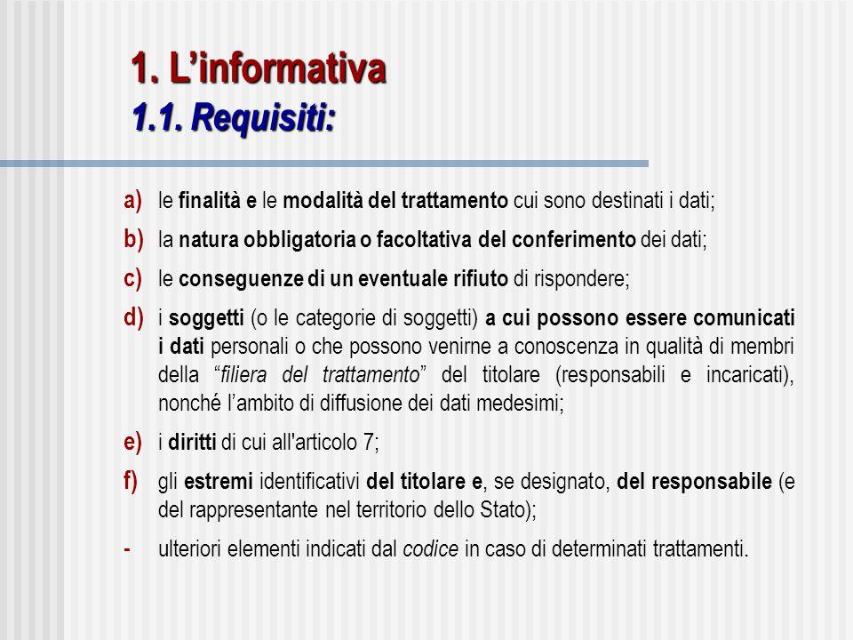 a) le finalità e le modalità del trattamento cui sono destinati i dati; b) la natura obbligatoria o facoltativa del conferimento dei dati; c) le conse