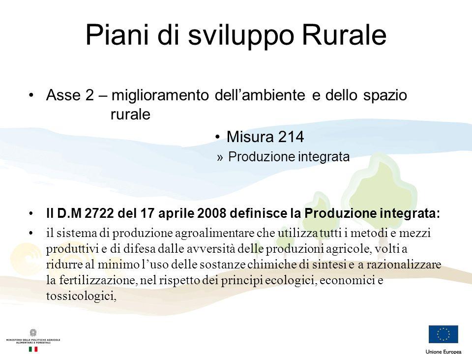 Piani di sviluppo Rurale Asse 2 – miglioramento dellambiente e dello spazio rurale Misura 214 »Produzione integrata Il D.M 2722 del 17 aprile 2008 def