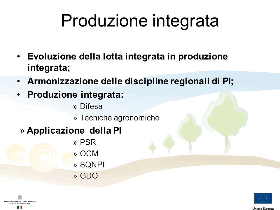 Produzione integrata Evoluzione della lotta integrata in produzione integrata; Armonizzazione delle discipline regionali di PI; Produzione integrata: