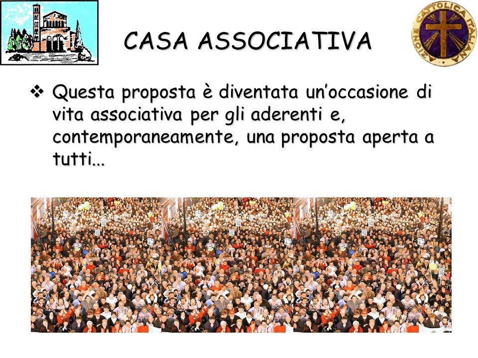 CASA ASSOCIATIVA Questa proposta è diventata unoccasione di vita associativa per gli aderenti e, contemporaneamente, una proposta aperta a tutti...