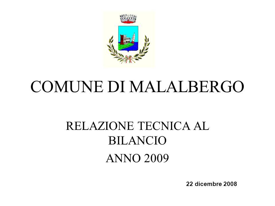 COMUNE DI MALALBERGO RELAZIONE TECNICA AL BILANCIO ANNO 2009 22 dicembre 2008