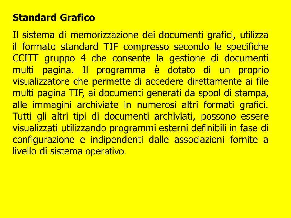 Standard Grafico Il sistema di memorizzazione dei documenti grafici, utilizza il formato standard TIF compresso secondo le specifiche CCITT gruppo 4 c