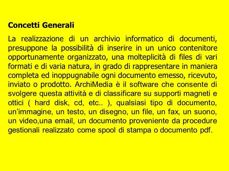 Concetti Generali La realizzazione di un archivio informatico di documenti, presuppone la possibilità di inserire in un unico contenitore opportunamen