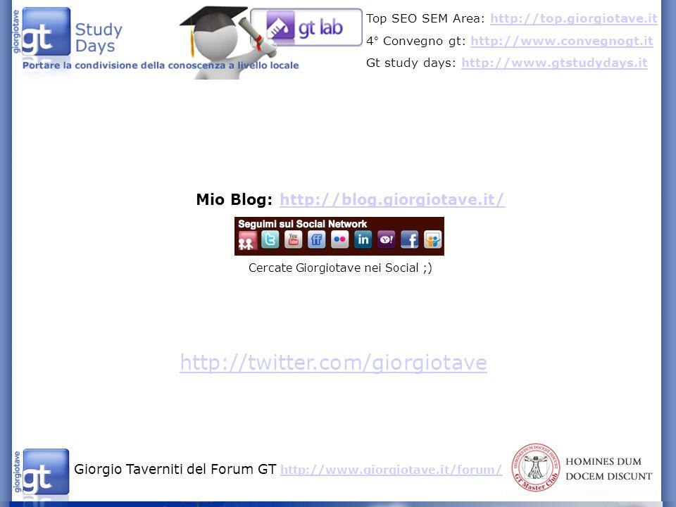 Giorgio Taverniti del Forum GT http://www.giorgiotave.it/forum/ http://www.giorgiotave.it/forum/ Top SEO SEM Area: http://top.giorgiotave.ithttp://top.giorgiotave.it 4° Convegno gt: http://www.convegnogt.ithttp://www.convegnogt.it Gt study days: http://www.gtstudydays.ithttp://www.gtstudydays.it Mio Blog: http://blog.giorgiotave.it/http://blog.giorgiotave.it/ Cercate Giorgiotave nei Social ;) http://twitter.com/giorgiotave