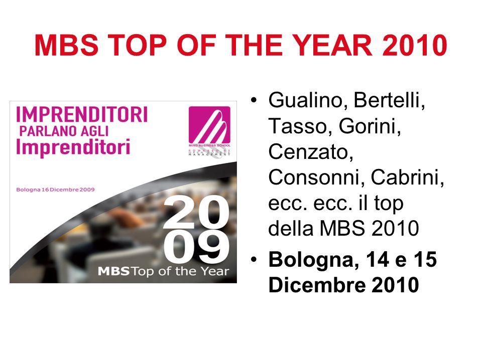 MBS TOP OF THE YEAR 2010 Gualino, Bertelli, Tasso, Gorini, Cenzato, Consonni, Cabrini, ecc. ecc. il top della MBS 2010 Bologna, 14 e 15 Dicembre 2010