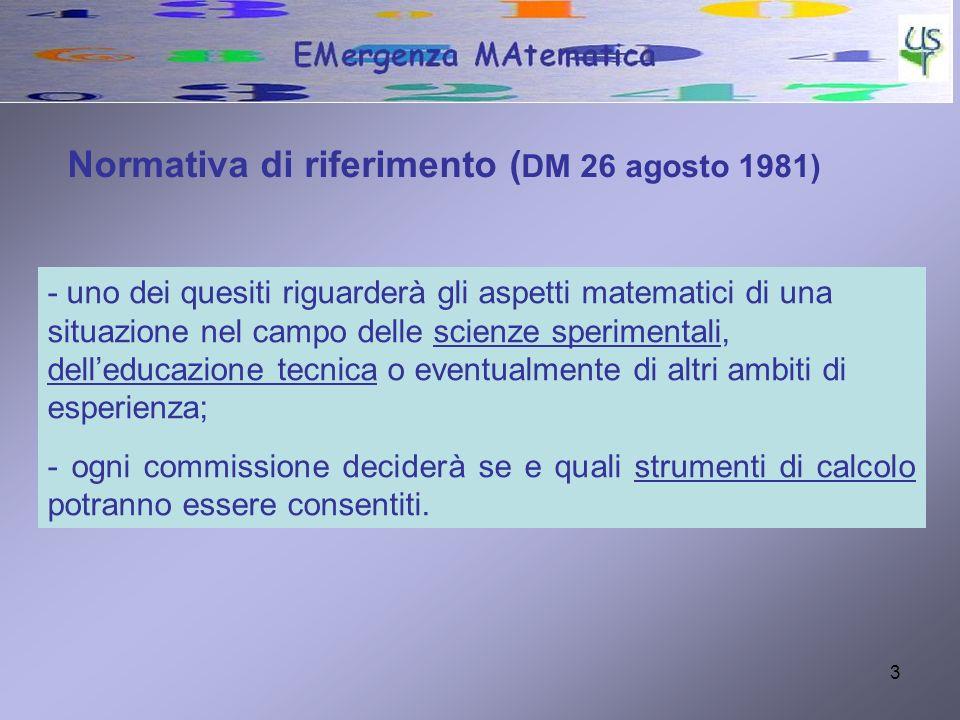 4 Quattro quesiti Geometria analitica Geometria solida (volume, peso specifico ecc.) Equazioni Matematica applicata alle scienze La prassi consolidata: come è fatta la prova desame di terza media
