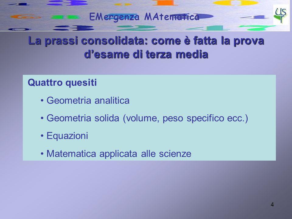 4 Quattro quesiti Geometria analitica Geometria solida (volume, peso specifico ecc.) Equazioni Matematica applicata alle scienze La prassi consolidata