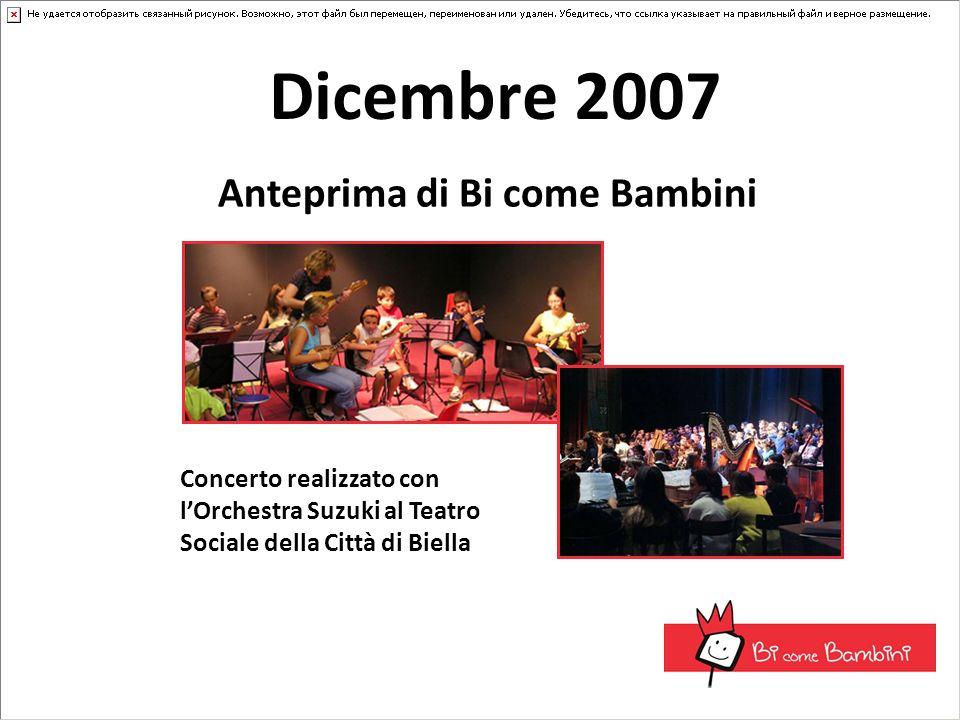 Dicembre 2007 Anteprima di Bi come Bambini Concerto realizzato con lOrchestra Suzuki al Teatro Sociale della Città di Biella
