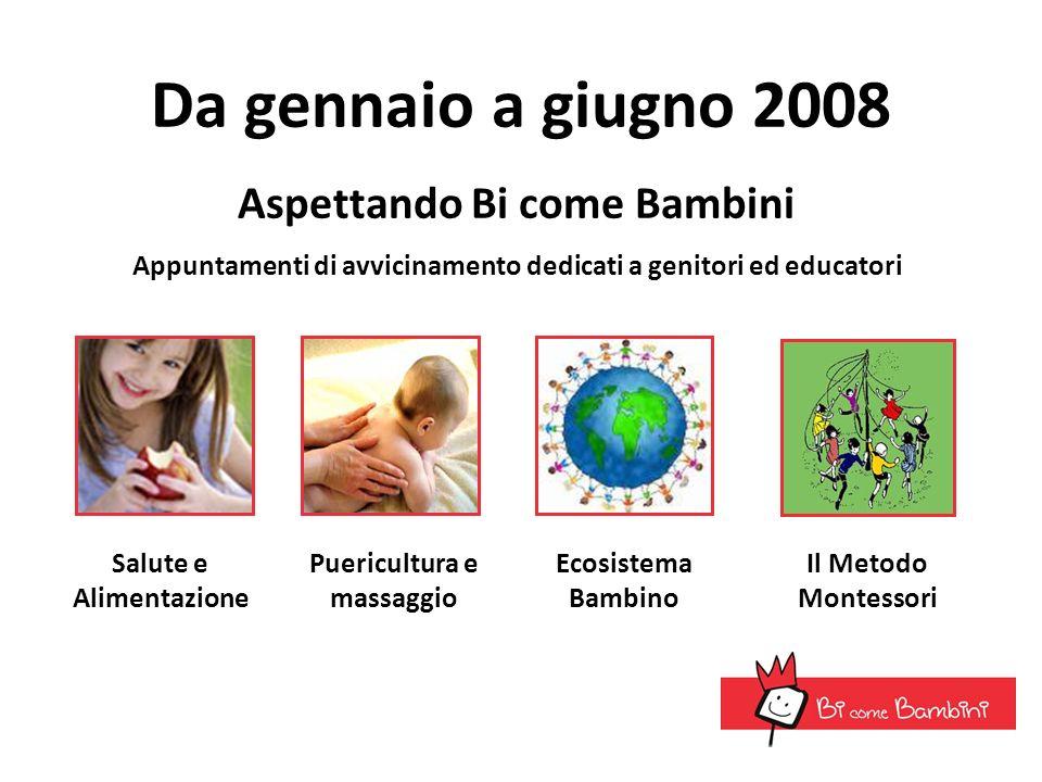 Da gennaio a giugno 2008 Salute e Alimentazione Aspettando Bi come Bambini Appuntamenti di avvicinamento dedicati a genitori ed educatori Puericultura