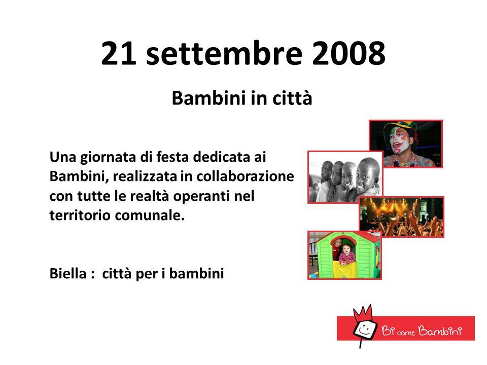 21 settembre 2008 Bambini in città Una giornata di festa dedicata ai Bambini, realizzata in collaborazione con tutte le realtà operanti nel territorio
