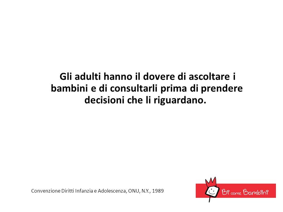 Gli adulti hanno il dovere di ascoltare i bambini e di consultarli prima di prendere decisioni che li riguardano. Convenzione Diritti Infanzia e Adole
