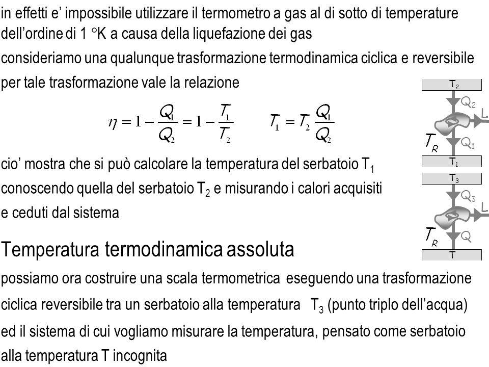 ed il sistema di cui vogliamo misurare la temperatura ciclica reversibile tra un serbatoio alla temperatura consideriamo una qualunque trasformazione