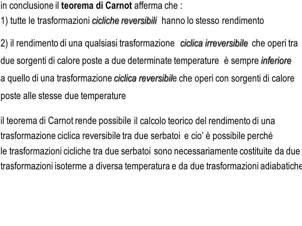 2) il rendimento di una qualsiasi trasformazione che operi con sorgenti di calore in conclusione il teorema di Carnot afferma che : cicliche reversibi