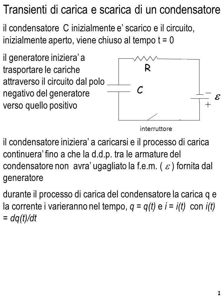 1 Transienti di carica e scarica di un condensatore durante il processo di carica del condensatore la carica q e la corrente i varieranno nel tempo, q
