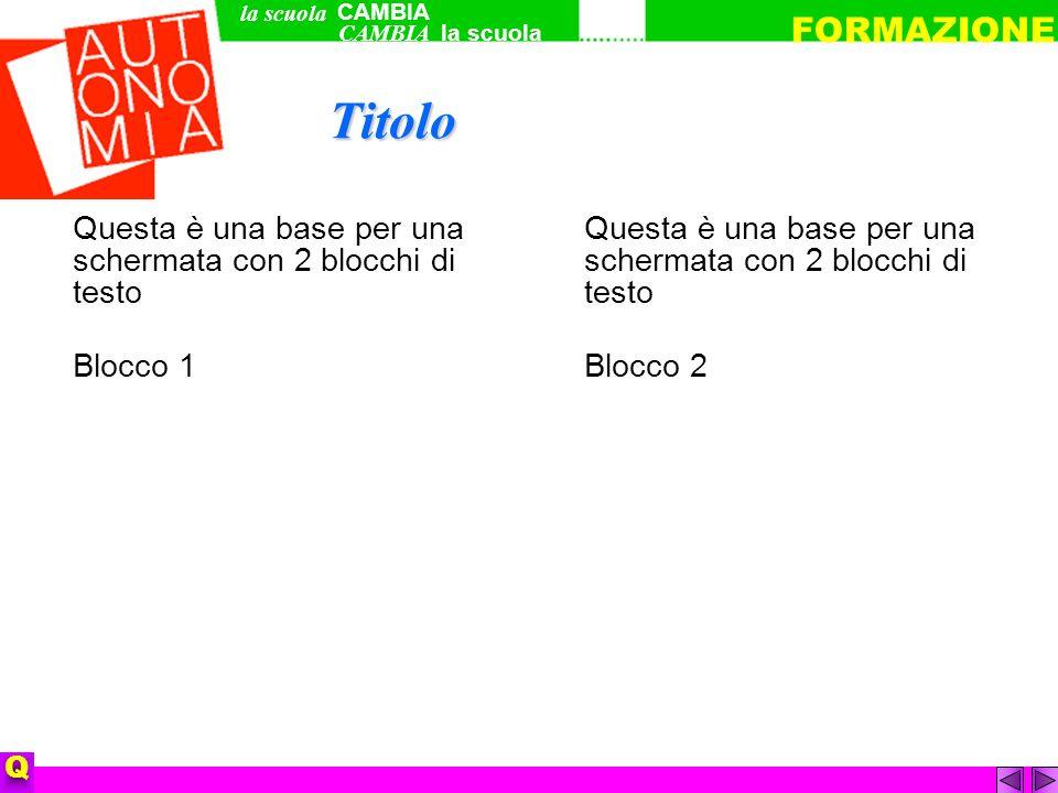 Questa è una base per una schermata con 2 blocchi di testo Blocco 1 Questa è una base per una schermata con 2 blocchi di testo Blocco 2 QTitolo CAMBIA la scuola FORMAZIONE la scuola CAMBIA