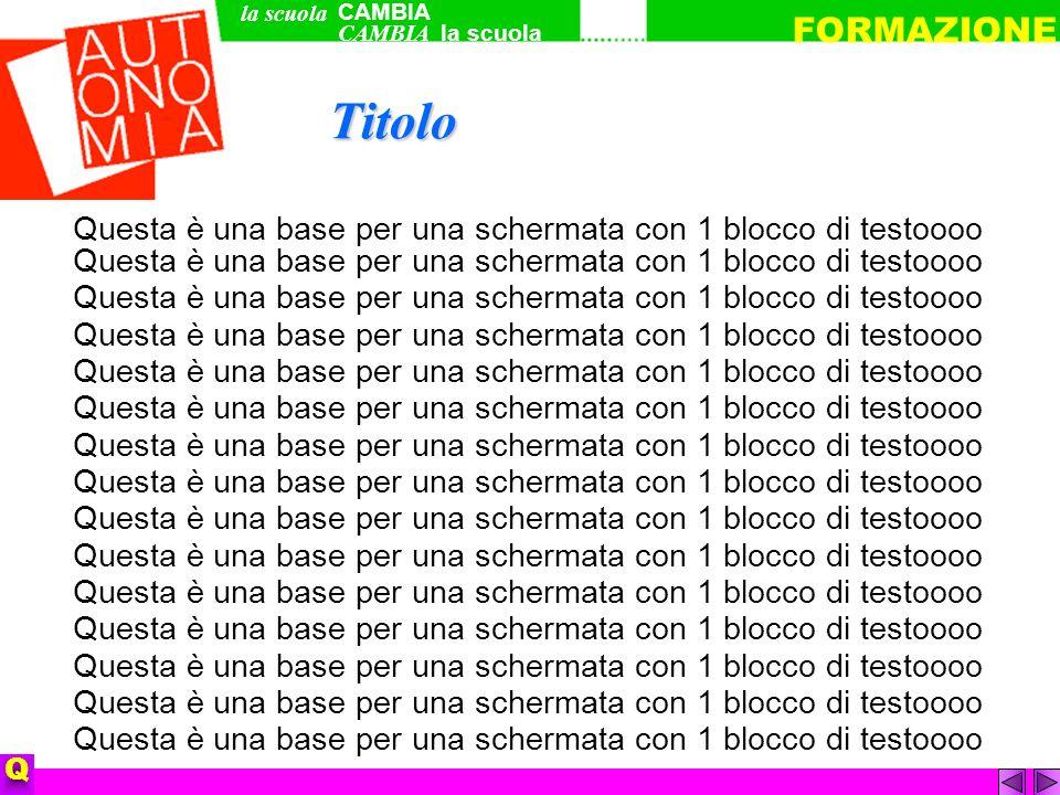 Questa è una base per una schermata con 1 blocco di testoooo Questa è una base per una schermata con 1 blocco di testoooo QTitolo CAMBIA la scuola FORMAZIONE la scuola CAMBIA
