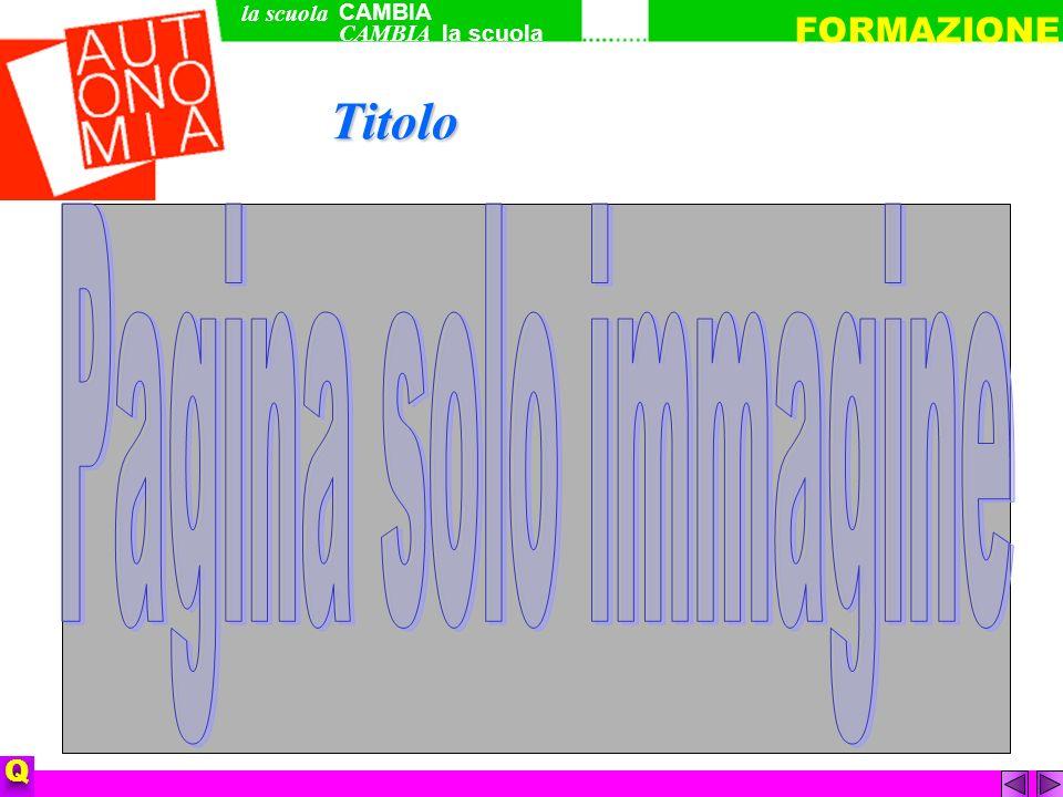 Titolo CAMBIA la scuola FORMAZIONE Q la scuola CAMBIA