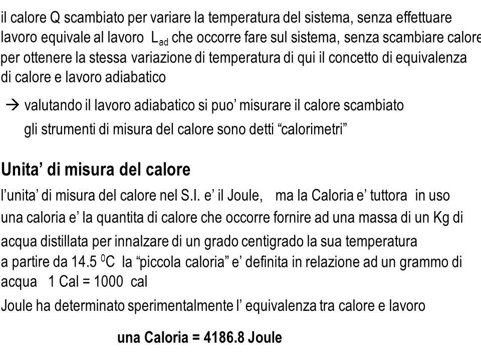 lunita di misura del calore nel S.I. e il Joule, Joule ha determinato sperimentalmente l equivalenza tra calore e lavoro ma la Caloria e tuttora in us