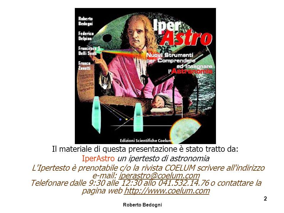 Roberto Bedogni 53 La precessione del perielio di Mercurio Causa della precessione Valore della precessione (secondi di arco per secolo) Precessione generale al 1900 5025.6 Venere277.8 Terra90.0 Marte2.5 Giove153.6 Saturno7.3 Altri pianeti0.2 Totale previsto5557.0 Totale osservato5599.0 Discrepanza42.7 Per rendere conto della precessione eccessivadi 42.7 secondi di arco per secolo non è sufficiente la Teoria Newtoniana ma bisogna ricorrere alla Relatività Generale !
