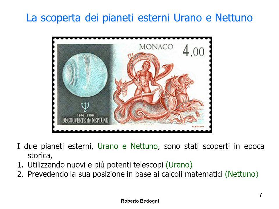 Roberto Bedogni 8 Urano, Nettuno e Plutone 1 ----TerraUranoNettunoPlutone Distanza (U.A.) 119.1430.1939.5 Periodo rivoluzione (anni) 183.70164.7247.7 Periodo rotazione (giorni) 1-0.7180.672-6.39 Inclinazione orbita 00.7741.77417.15 Eccentricità0.01670.04610.00970.2482 Numero satelliti 11581 Magnitudine visuale apparente ---5.507.915.2
