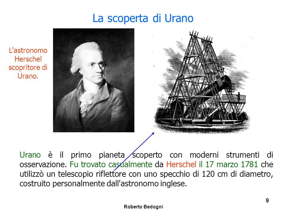 Roberto Bedogni 10 La conferma della scoperta di Urano Herschel era alla ricerca di stelle doppie ed una notte gli apparve un astro la cui immagine si presentava in forma di disco.