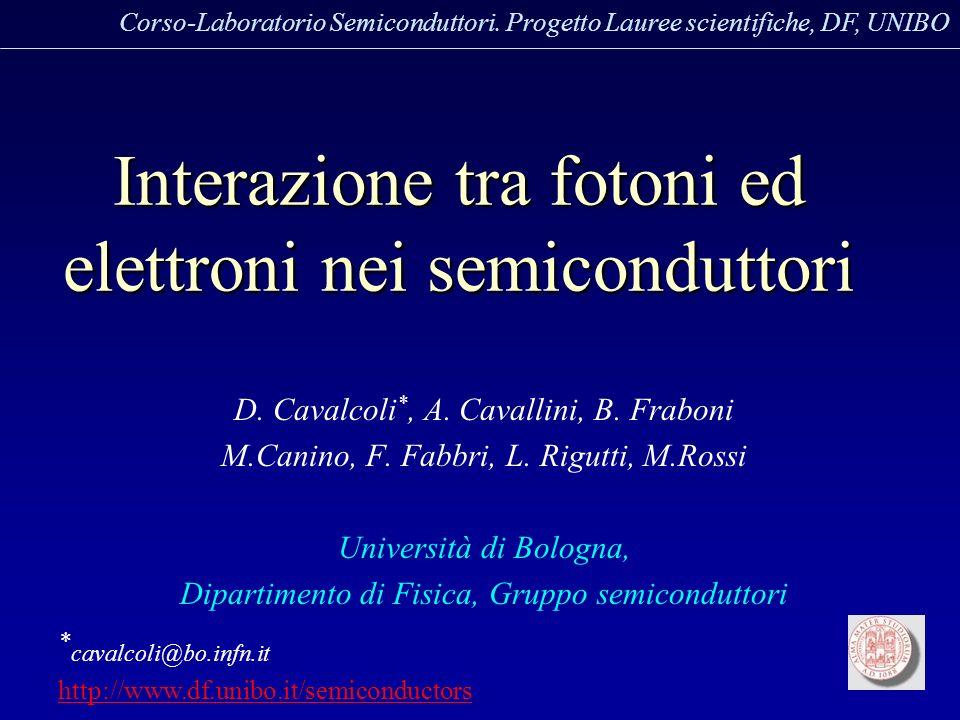 Interazione tra fotoni ed elettroni nei semiconduttori D. Cavalcoli *, A. Cavallini, B. Fraboni M.Canino, F. Fabbri, L. Rigutti, M.Rossi Università di