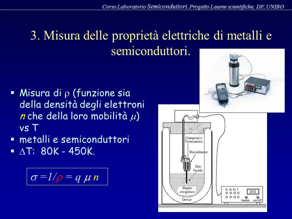 3. Misura delle proprietà elettriche di metalli e semiconduttori. Corso Laboratorio Semiconduttori. Progetto Lauree scientifiche, DF, UNIBO Misura di