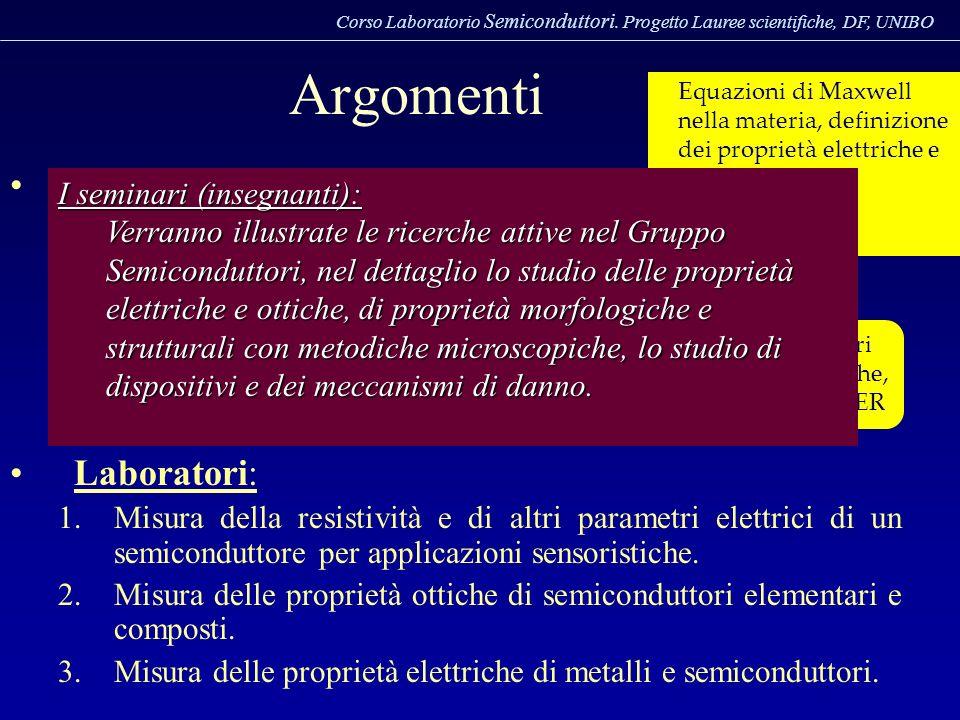 Corso Laboratorio Semiconduttori. Progetto Lauree scientifiche, DF, UNIBO I LABORATORI