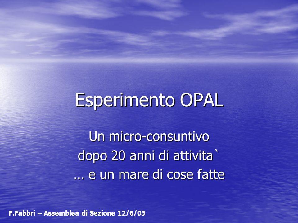 Esperimento OPAL Un micro-consuntivo dopo 20 anni di attivita` … e un mare di cose fatte F.Fabbri – Assemblea di Sezione 12/6/03