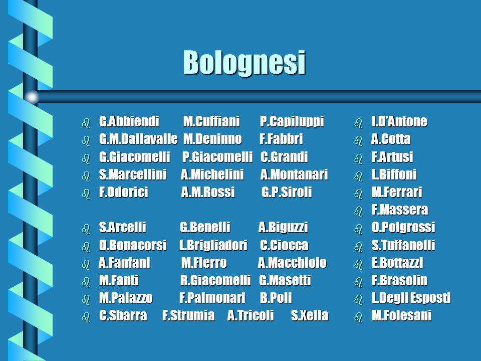 Bolognesi Bolognesi b G.Abbiendi M.Cuffiani P.Capiluppi b G.M.Dallavalle M.Deninno F.Fabbri b G.Giacomelli P.Giacomelli C.Grandi b S.Marcellini A.Mich
