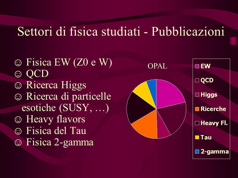 Settori di fisica studiati - Pubblicazioni Fisica EW (Z0 e W) QCD Ricerca Higgs Ricerca di particelle esotiche (SUSY, …) Heavy flavors Fisica del Tau