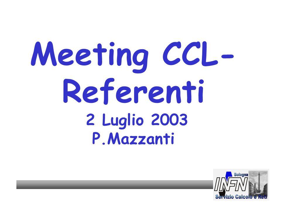 Meeting CCL- Referenti 2 Luglio 2003 P.Mazzanti