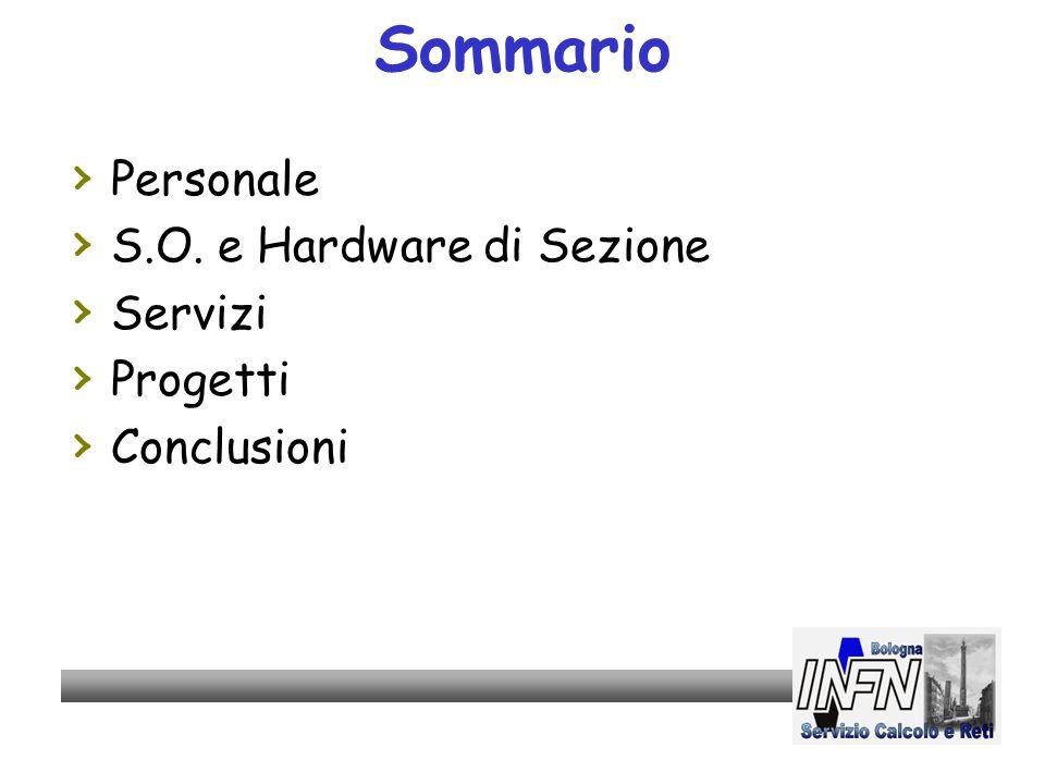 Sommario Personale S.O. e Hardware di Sezione Servizi Progetti Conclusioni