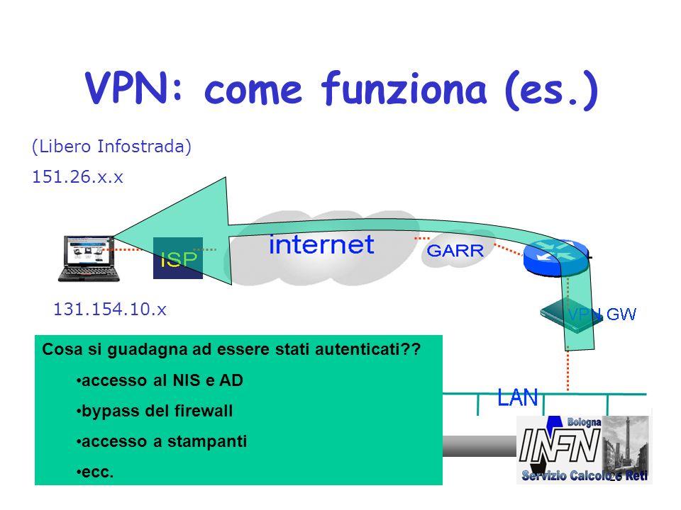 25 VPN: come funziona (es.) (Libero Infostrada) 151.26.x.x 131.154.10.x Cosa si guadagna ad essere stati autenticati?? accesso al NIS e AD bypass del