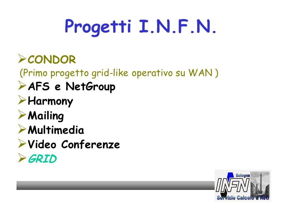 4 Progetti I.N.F.N. CONDOR (Primo progetto grid-like operativo su WAN ) AFS e NetGroup Harmony Mailing Multimedia Video Conferenze GRID