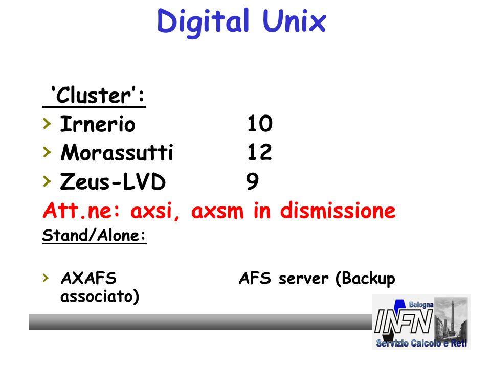 Digital Unix Cluster: Irnerio 10 Morassutti 12 Zeus-LVD 9 Att.ne: axsi, axsm in dismissione Stand/Alone: AXAFSAFS server (Backup associato)