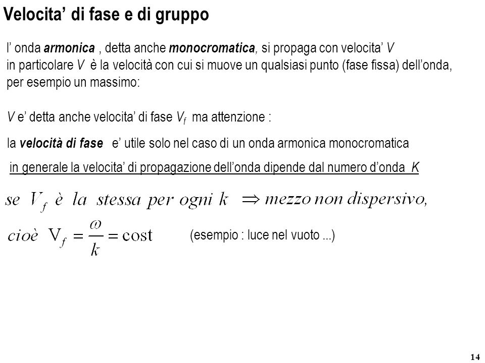 14 in particolare V è la velocità con cui si muove un qualsiasi punto (fase fissa) dellonda, per esempio un massimo: Velocita di fase e di gruppo l on