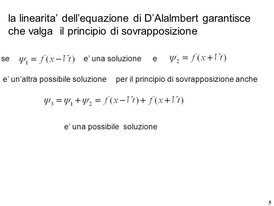 5 la linearita dellequazione di DAlalmbert garantisce che valga il principio di sovrapposizione see una soluzionee e unaltra possibile soluzioneper il