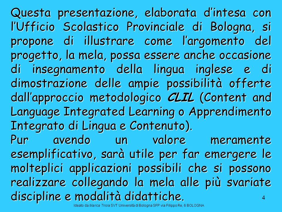 45 Dal database del Ministero americano dell Agricoltura Ideato da Marica Triola SVT Università di Bologna SFP via Filippo Re, 6 BOLOGNA Scarto: 15% (8% torsolo e gambo, 7% buccia) Nome scientifico: Malus domestica NutrientiUnità Valore per 100 g Principali Acquag86.67 Caloriekcal48 Caloriekj200 Proteineg0.27 Lipidig0.13 Cenerig0.17 Carboidrati (per differenza)g12.76 Fibreg1.3 Zuccherig10.10 Saccarosiog0.82 Glucosio (destrosio)g3.25 Fruttosiog6.03