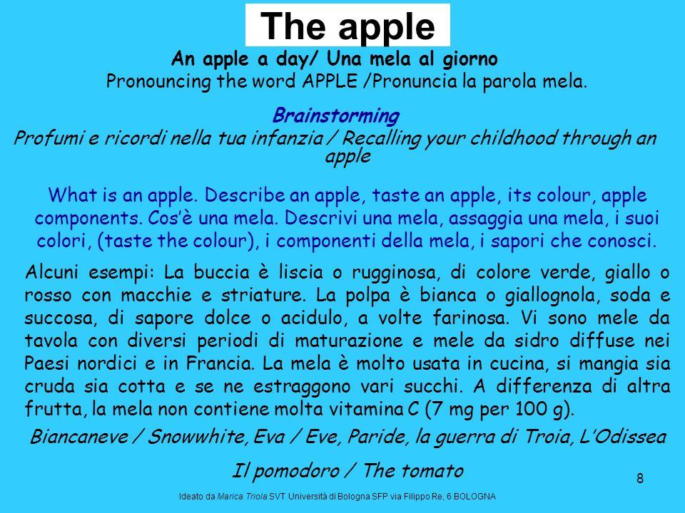 8 The apple An apple a day/ Una mela al giorno Pronouncing the word APPLE /Pronuncia la parola mela. Brainstorming Profumi e ricordi nella tua infanzi