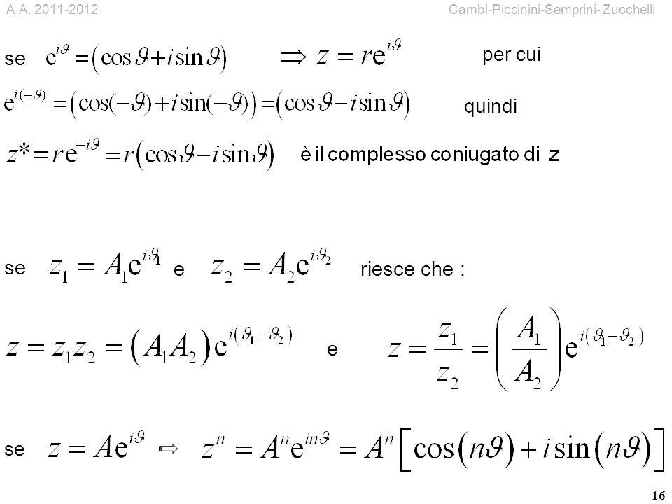 16 se e e quindi riesce che : per cui Cambi-Piccinini-Semprini- ZucchelliA.A. 2011-2012