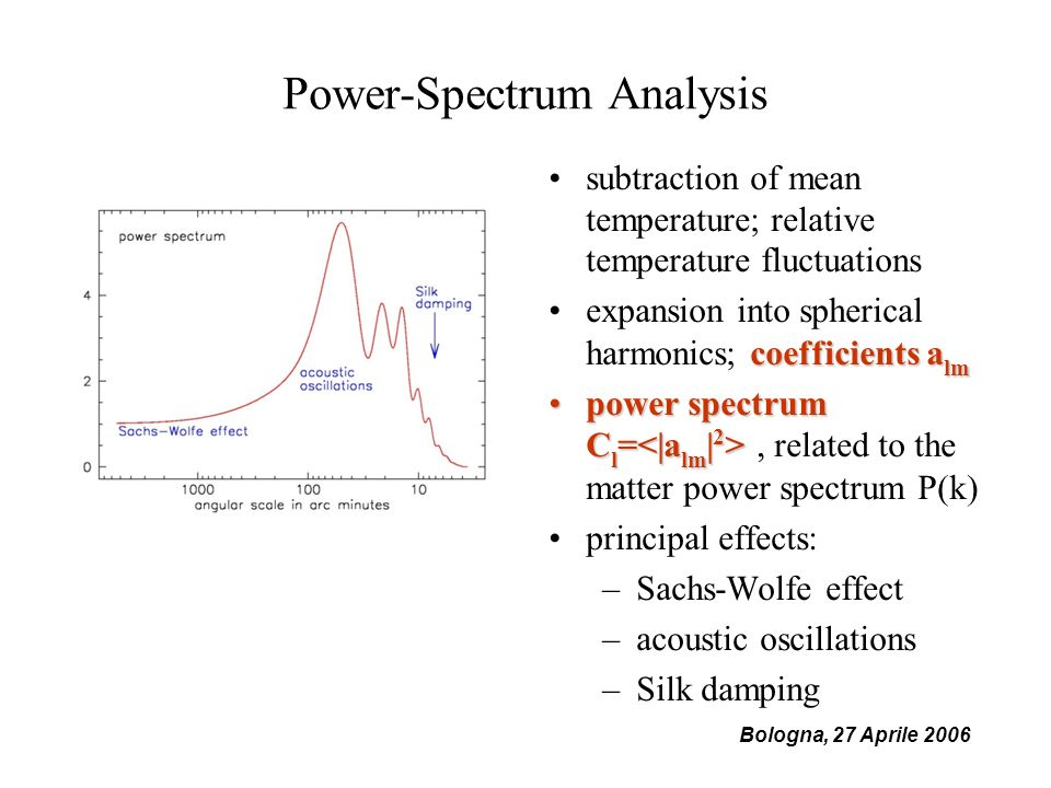 Bologna, 27 Aprile 2006 Power-Spectrum Analysis subtraction of mean temperature; relative temperature fluctuations coefficients a lmexpansion into spherical harmonics; coefficients a lm power spectrum C l = power spectrum C l =, related to the matter power spectrum P(k) principal effects: –Sachs-Wolfe effect –acoustic oscillations –Silk damping