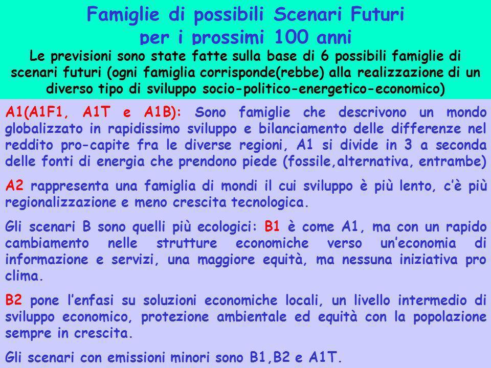 Famiglie di possibili Scenari Futuri per i prossimi 100 anni Le previsioni sono state fatte sulla base di 6 possibili famiglie di scenari futuri (ogni