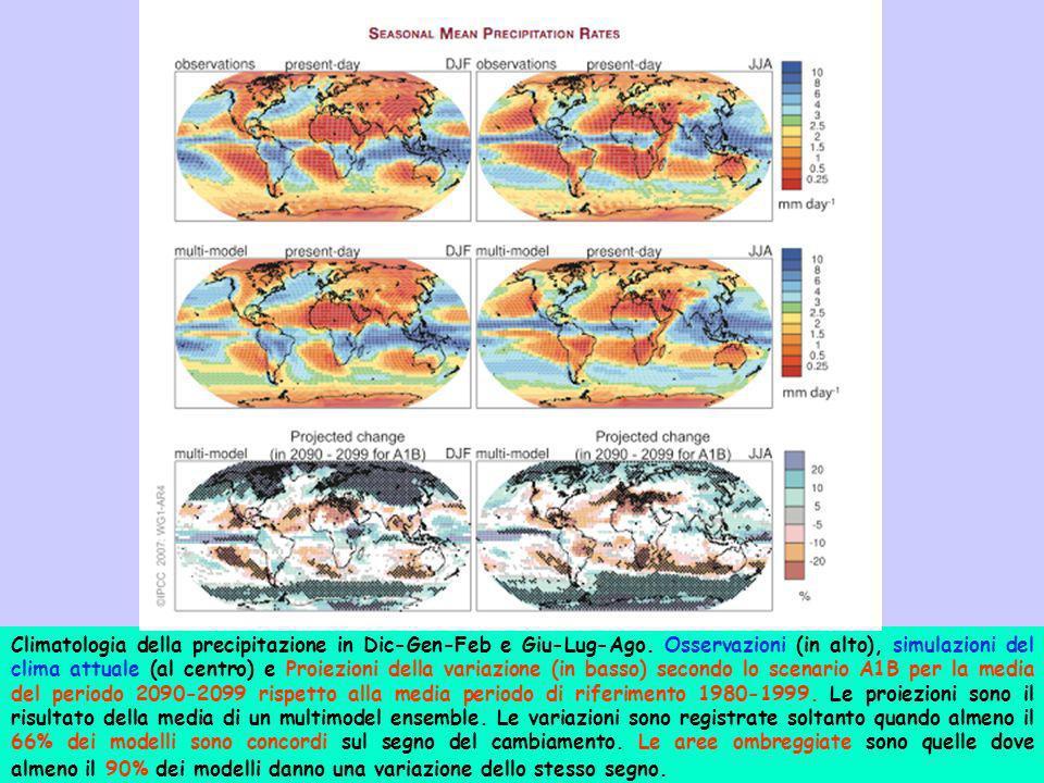 Climatologia della precipitazione in Dic-Gen-Feb e Giu-Lug-Ago. Osservazioni (in alto), simulazioni del clima attuale (al centro) e Proiezioni della v
